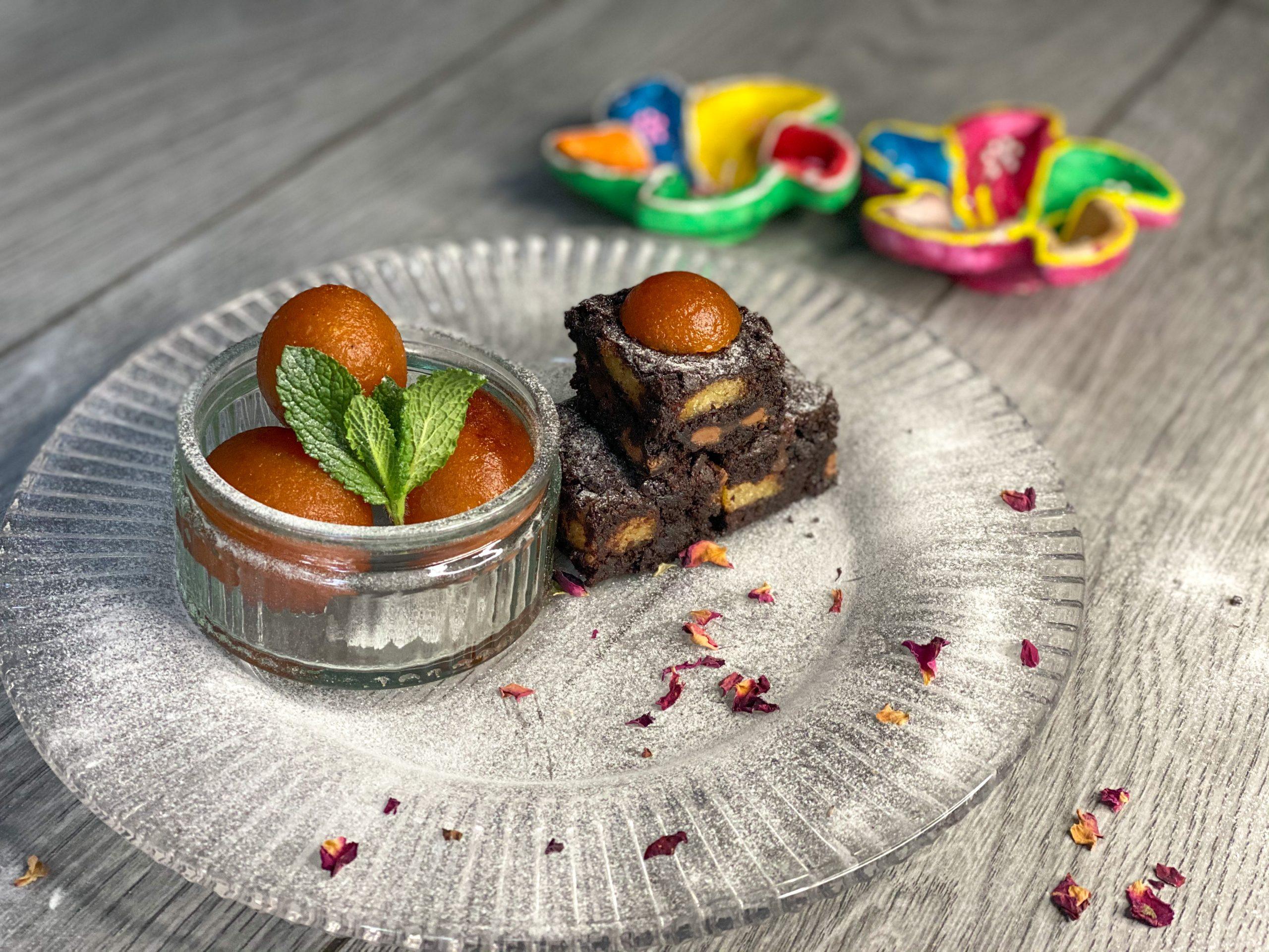 Gulab Jamun Brownies