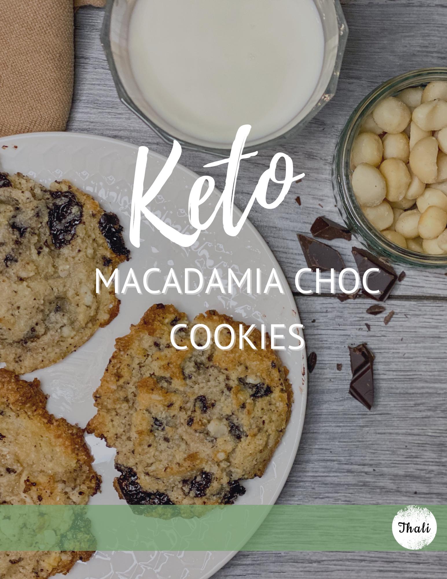 Keto macadamia nut dark choc cookies