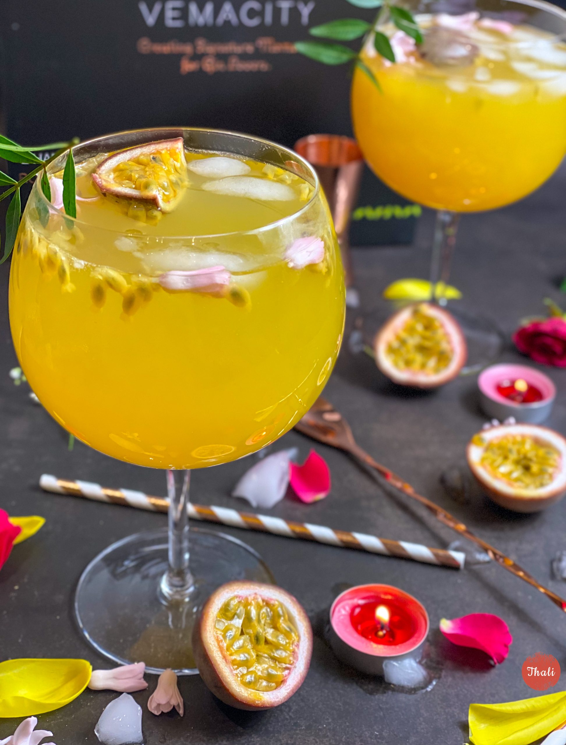 Passion Fruit Gin Fizz Cocktail