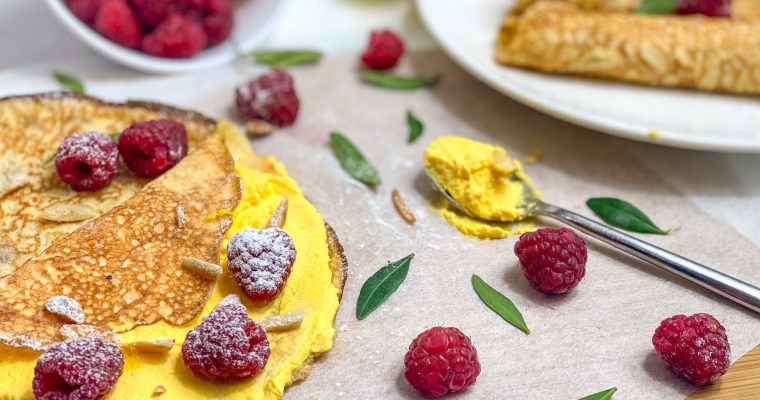 Lemon Cream & Raspberry Pancakes – only 3 ingredients